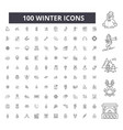 winter editable line icons 100 set vector image