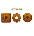 wooden settings icons round and square gear vector image