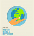 earth day environment care paper cut vector image