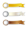 golden silver and bronze ribbons banner vector image