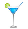 refreshing blue cocktail vector image