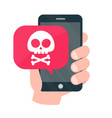 smartphone mobile in danger concept vector image