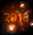 2018 glowing neon orange new year background vector image vector image
