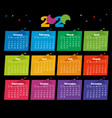 2020 calendar color modern design on black vector image vector image