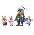 a set animated happy little bunnies in clothes vector image