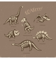 Adorable card with funny dinosaur skeletons in vector image vector image