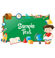 border design with boy reading and school objects vector image