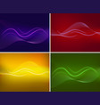 bright wavy lines on four different backgrounds vector image