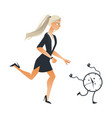 businesswoman and time concept with young girl vector image vector image