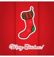 Christmas greeting card with red sock vector image