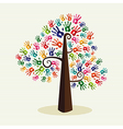 Colorful solidarity hand prints tree vector image vector image