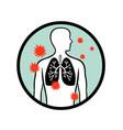 coronavirus infecting human lung circle retro vector image