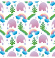 elephant with leaves and rainbow cloud background vector image vector image