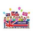 England Happy crowd of people with placards at vector image vector image