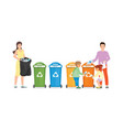 family sorting garbage into garbage collector on vector image