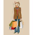 Fashion Fox carrying shopping bags vector image