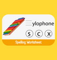 find missing letter with xylophone vector image vector image