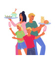 food festival with cheerful people carrying trays vector image