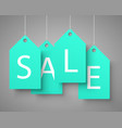 four large blue tags with the word sale vector image vector image