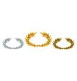 golden silver and bronze laurel wreaths vector image