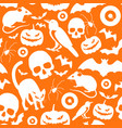halloween symbols seamless orange pattern vector image
