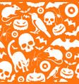 halloween symbols seamless orange pattern vector image vector image