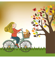 happy girl on bike vector image vector image