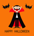 happy halloween count dracula wearing black and vector image vector image
