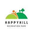 happy hill landscape logo vector image