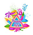 happy holi colorful background of vector image vector image