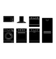 home appliances black silhouette icons vector image vector image