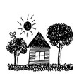 kid hand draw home tree and sun vector image