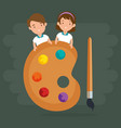 little kids with pallette vector image