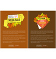 mega sale autumn half price advertising poster vector image vector image