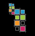 modern squares on black background vector image vector image