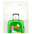 modern suitcase with travel tags - journey baggage vector image vector image