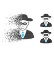 moving pixelated halftone security agent icon with vector image vector image