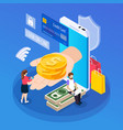 online lending isometric composition vector image