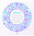 online music concept in circle with thin line icon vector image vector image