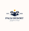 palm tree with house logo template isolated vector image vector image