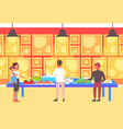 people tourists choosing dishes from table vector image