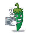 photographer green chili character cartoon vector image