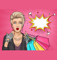 pop art surprised tattooed girl holding shopping vector image vector image
