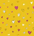seamless hand drawn hearts pattern yellow vector image