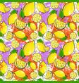seamless pattern lemon fruits summer ornament vector image