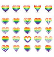 set of rainbow hearts vector image vector image