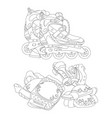 set of roller skates and protective gear vector image vector image