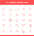 Set of Thin Line Stroke Beach Icons vector image vector image