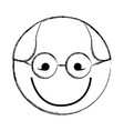 sketch draw round glasses man face cartoon vector image vector image
