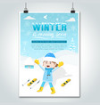 ski girl cartoon winter poster vector image